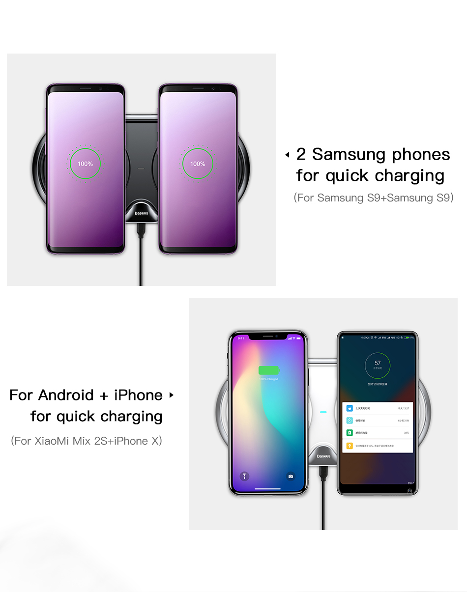 Wireless Charger of Baseus Dual For iPhone X XS Max Xr Samsung S9 S8 Note 8 9 10W Fast Wireless Charging Pad Dock Station Desktop 6