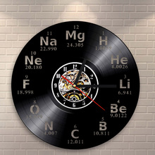 Buy wall clock art and get free shipping on aliexpress 1piece creative design 3d wall clock chemical element periodic table vinyl record clock chemistry school gift urtaz Images