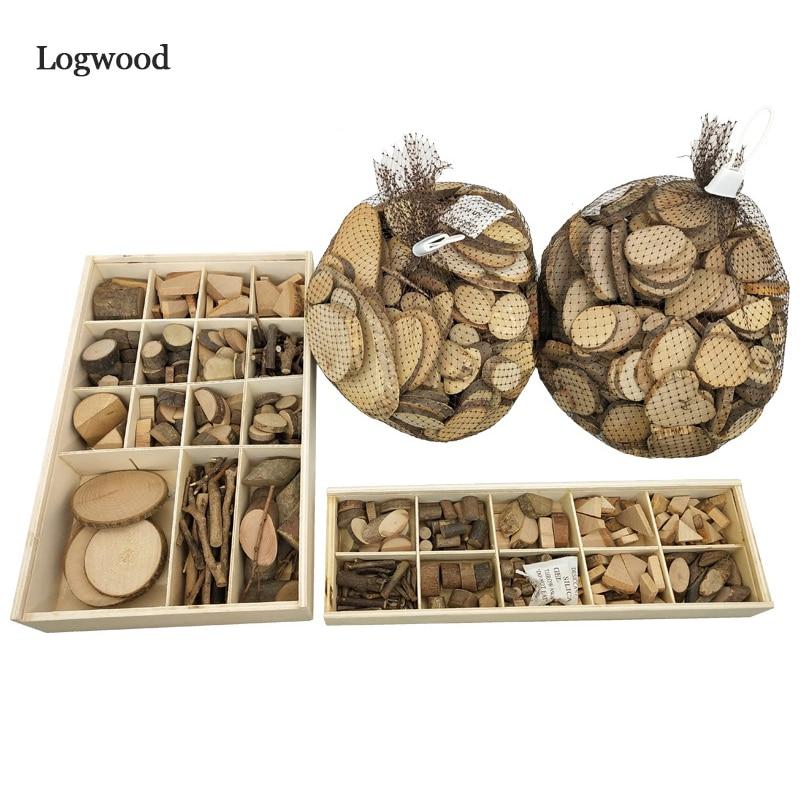 Logwood 30-50pcs Baby DIY Toy Nature Wood Art & Craft Handmade Create Wooden Toy Educational Originality Wood For Children Gift