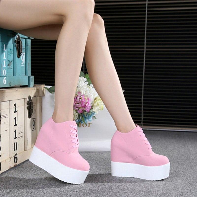 ילדה תחרה עד גובה הגדלת גופר נעלי אישה טריזי עקבים גבוהה נסתרת העקב פלטפורמה מקרית sneaker נעלי ורוד NN-68