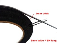 2mm Thick 5mm 5M Double Sided Adhesive Black Foam Sponge For Windows Panel Plate Trim