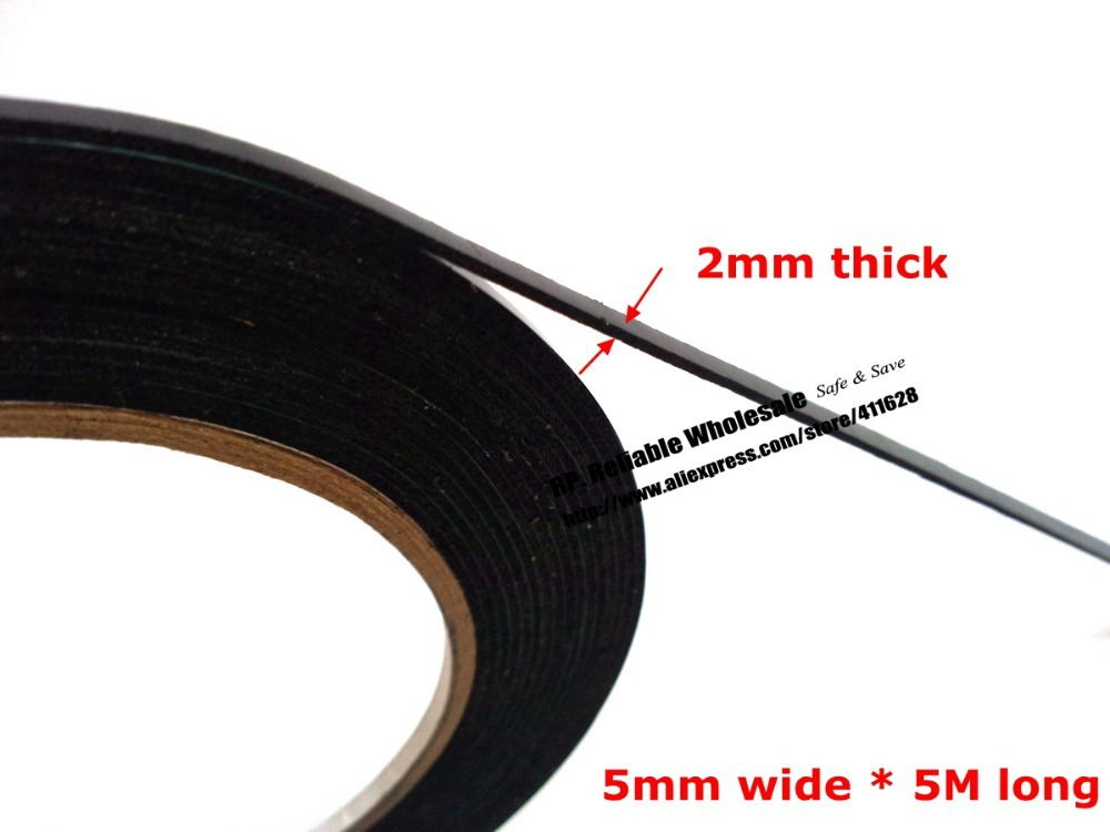 (2mm thick) 5mm*5M, (Other wide Choose) Double Sided Adhesive Black Foam Sponge for Windows Panel Plate Trim Seal Dust Proof 1 0mm thick 4mm 100mm width choose clear double sided adhesive acrylic foam tape for glass panel edge trim seal 3meter roll