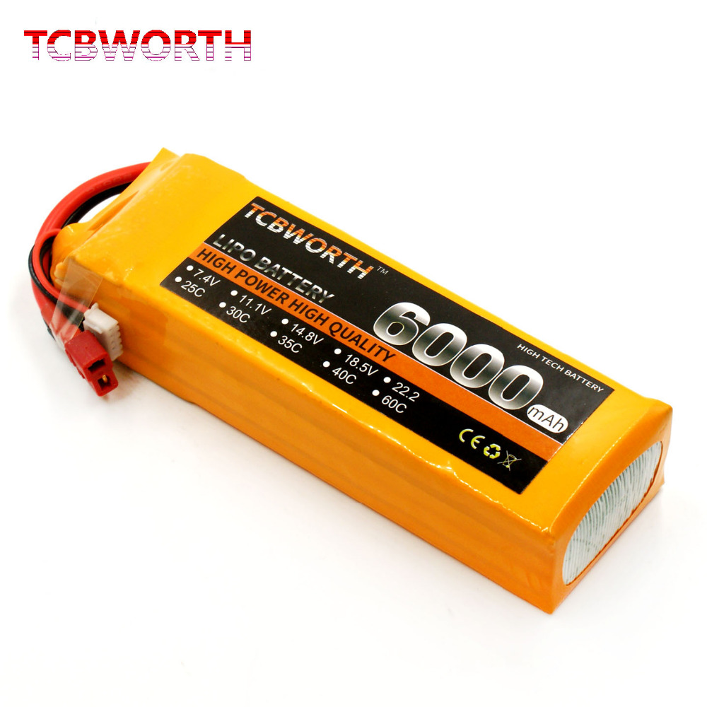 TCBWORTH 4S 14.8V 6000mAh 30C RC Drone LiPo battery For RC Airplane Quadrotor Helicopter Car AKKU Li-ion battery tcbworth rc drone lipo battery 7 4v 5000mah 35c 2s for rc airplane quadrotor helicopter akku car truck li ion battery