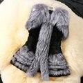 Chaqueta de Piel de lujo Escudo de Piel Falsa Chaleco de Las Mujeres Sin Mangas Patchwork Señoras Abrigos De invierno Caliente de Espesor Delgado prendas de Vestir Exteriores Más Tamaño XXXL Z5