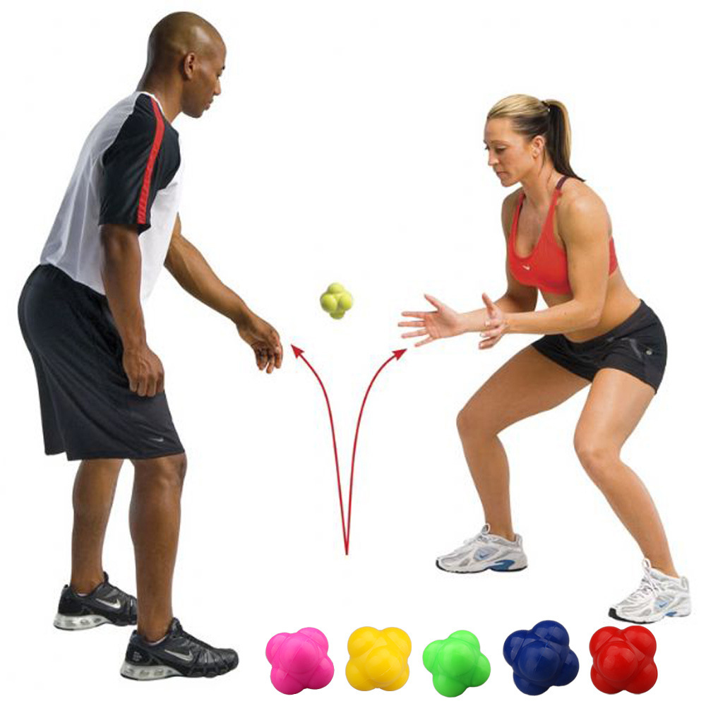 Hexagonal Ball 2 Levels Silicone Solid Fitness Agility Coordination Reflex Exercise Workout Equipment Training Reaction Ball