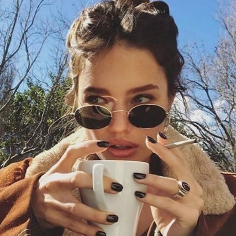 Small Oval Mirror Sunglasses For Women Pink Luxury 2017 Men Brand Designer Eyewear Shades Ladies Alloy Sun Glasses UV400 Eyegla