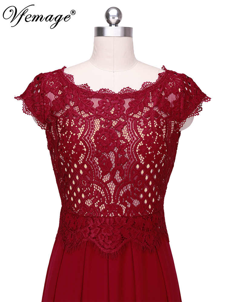 Vfemage женское элегантное кружевное шифоновое Плиссированное вечернее платье трапециевидной формы с рукавом-крылышком для свадьбы, вечеринки, особых случаев, выпускного вечера 2052