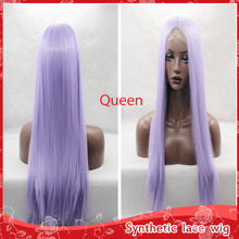 12 Colors Cosplay Synthetic Lace Front Wig Heat Resistant Cheap Wigs Cute White Pink Purple Long Straight Wigs for black women