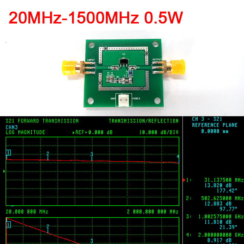 Tracking number 20MHz-1500MHz 0.5W 27dBm LNA RF amplifiers wideband amplifier Module HF VHF/ UHF power supply voltage:9-12v