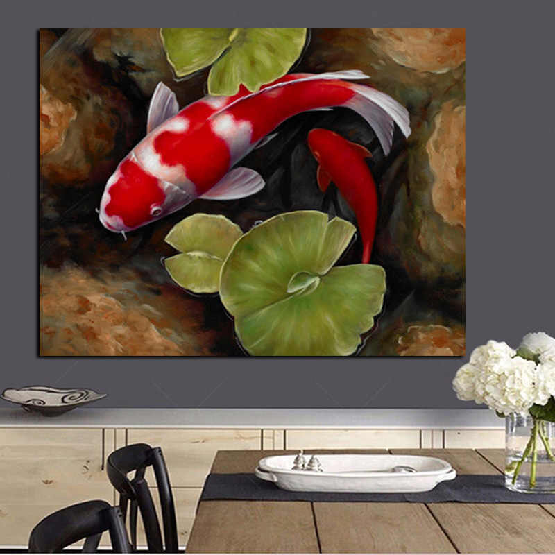 Print Chinese Koi Fish Lotus Feng Shui Animal Landscape Canvas Painting Wall Art Picture For Living Room Moder Sofa Home Decor