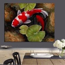 Druck Chinesischen Koi Fisch Lotus Feng Shui Tier Landschaft Leinwand Malerei Wandkunst Bild Fr Wohnzimmer Moder