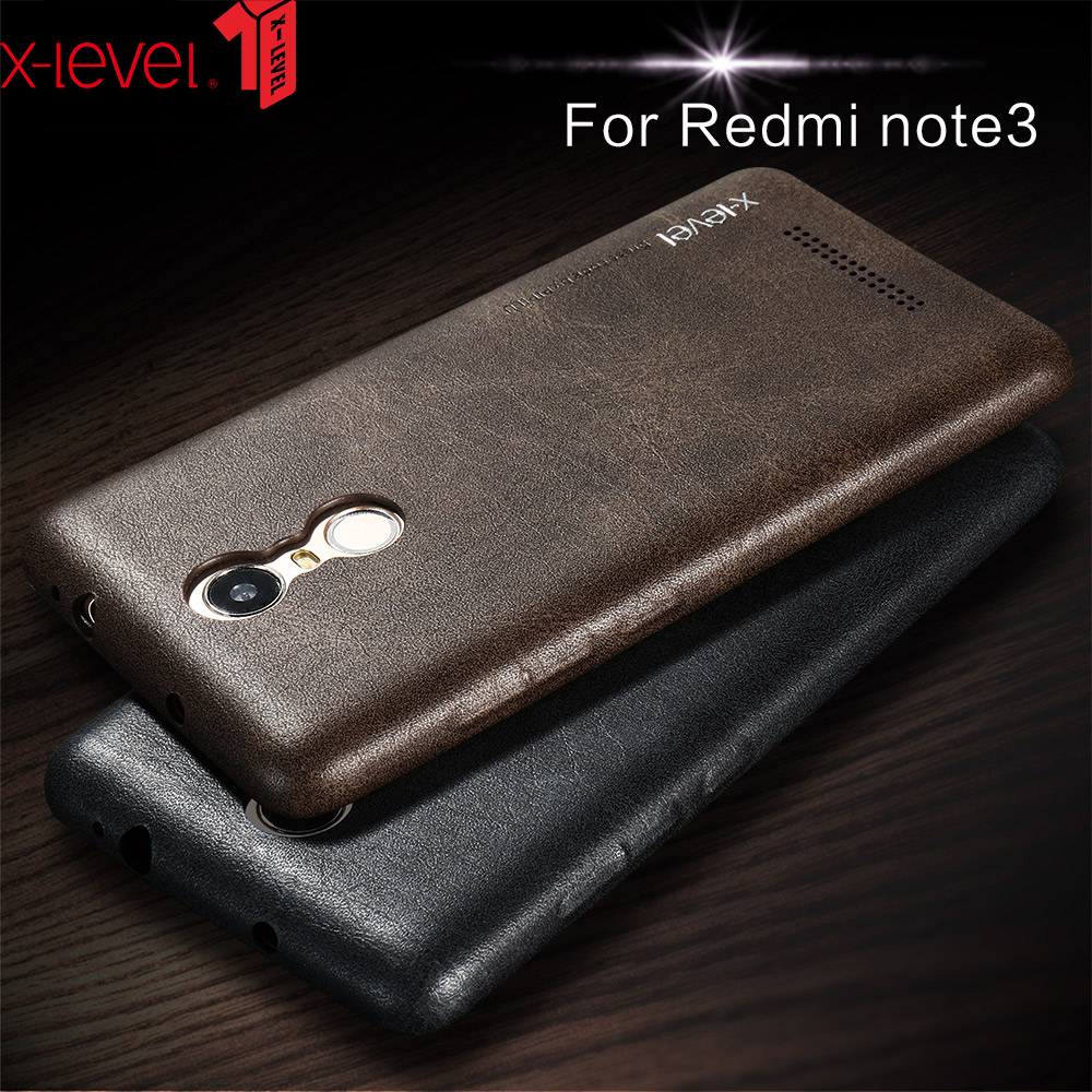 348f6408bbd X-level Luxury Vintage PU Leather Phone Case For Xiaomi Redmi Note 3 Back  Cover Case For Redmi Note 3