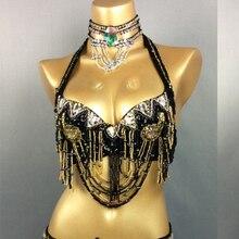Frete grátis novas mulheres traje de dança do ventre miçangas sutiã de lantejoulas roupas de dança do ventre sexy clube noturno sutiã de bellydance topos