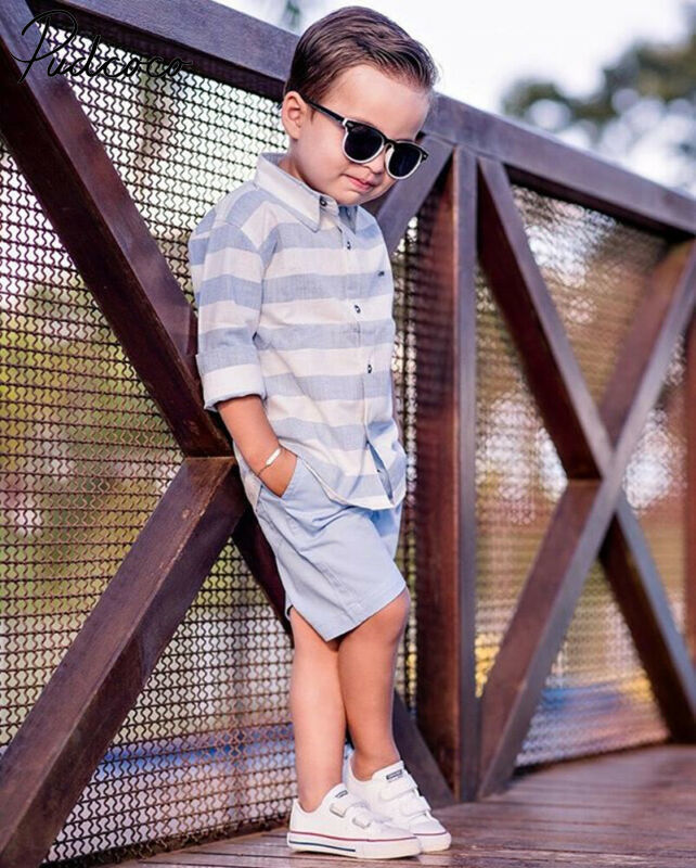 Child Baby Boy Kids Gentleman Striped Tee Shirt+Pants Wedding Party Summer Suit(China)