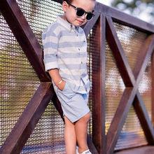 Детская футболка в полоску для маленьких мальчиков+ штаны, летний костюм для свадебной вечеринки