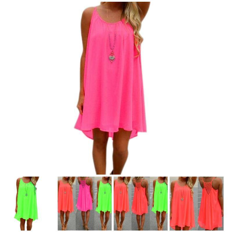 Hot Sexy Women Summer Chiffon Strap Dress Casual Loose Sleeveless Solid Beach Dresses Plus Size 5XL HD88