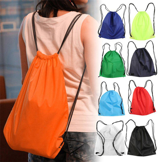 1 Pcs Portable Waterproof Oxford Sports Bag Thicken Drawstring Belt Riding Backpack Gym Drawstring Shoes Bag Clothes Backpack