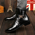 British Buckle Bright Full Grain Genuine Leather Shoes Mens Business Oxford Flats Slip On Short Ankle Boots Work Shoes Homme