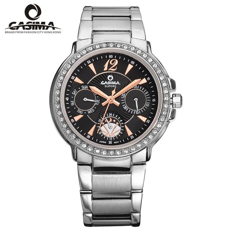 Relógios de Quartzo de Aço Relógios de Pulso para a Moda Casual à Prova Casima Pulseira Feminina Inoxidável Água 50m Senhoras 2902 D50