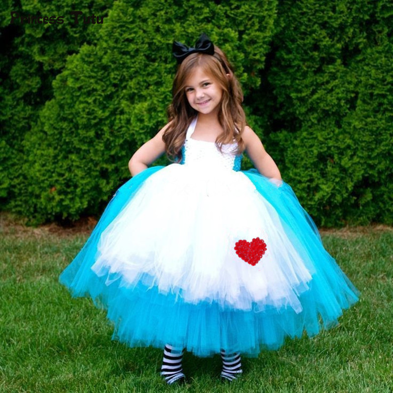 Blue Princess Girls Alice Dress Kids Baby Alice in Wonderland Cosplay Fancy Tutu Dress Children Halloween Carnival Party Costume sweet spaghetti strap solid color two piece swimsuit for women