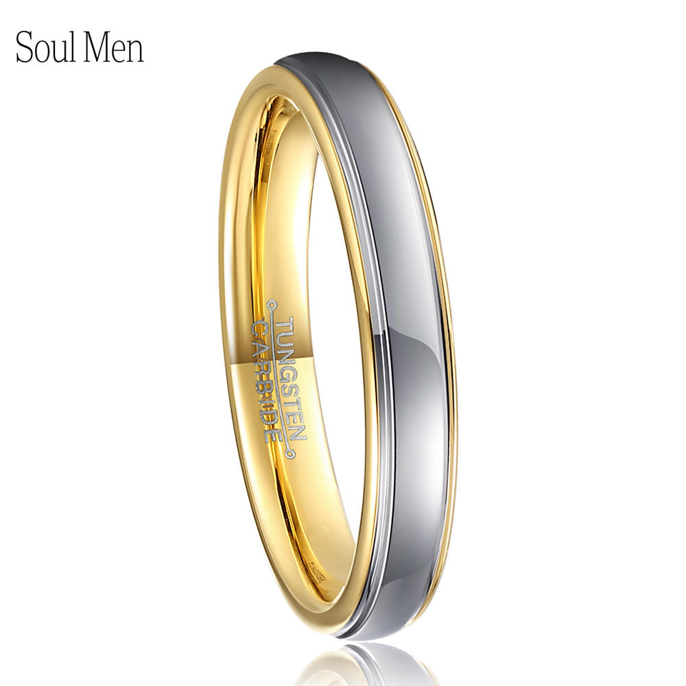 4mm Womens Gold & Silver Color Tungsten Carbide Wedding Engagement Band Ring Ladies Girls Single Tail Finger Jewelry