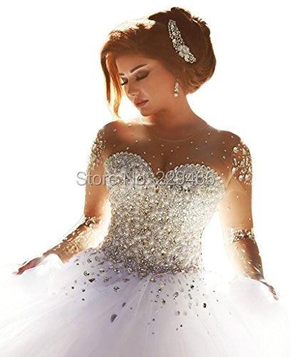 wuzhiyi robe de mariage Crystals wedding dress Beaded Full Sleeves Backless bridal gown wedding dress Bride Vestido de noiva2018