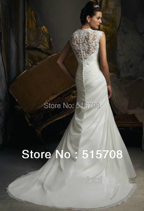 Free Shipping Sexy New Mermaid Queen Anne Neck Cap Sleeve Lace Long Famous Designer White Ivory Bridal Gown Wedding Dresses In From Weddings