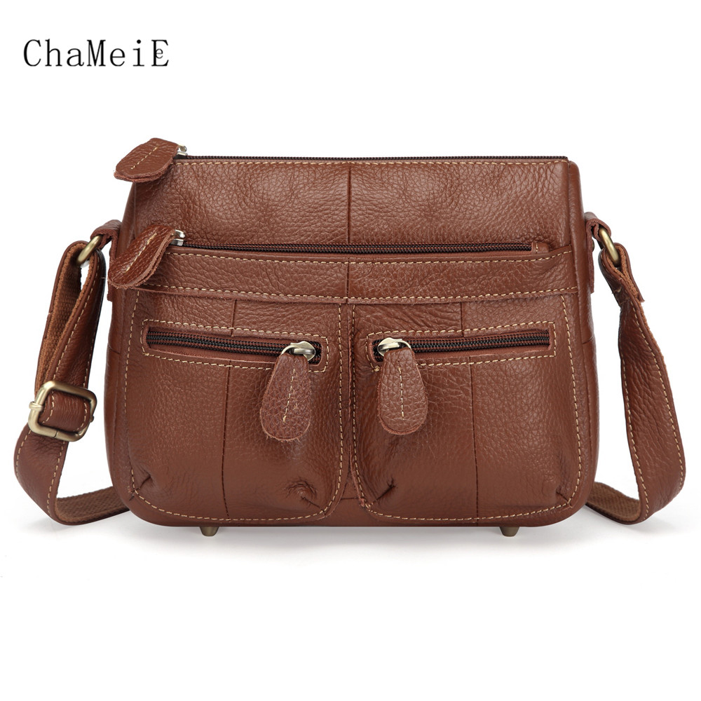 Hot Sale Women Genuine Leather Saddle Bag Luxury Crossbody Bag Zipper Lady Messenger Bag Female Shoulder Bag