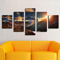 Hot Sells 5Panels landscape of alps france mountain sunset hills Wall Art Picture Home Decor for Living Room canvas printed