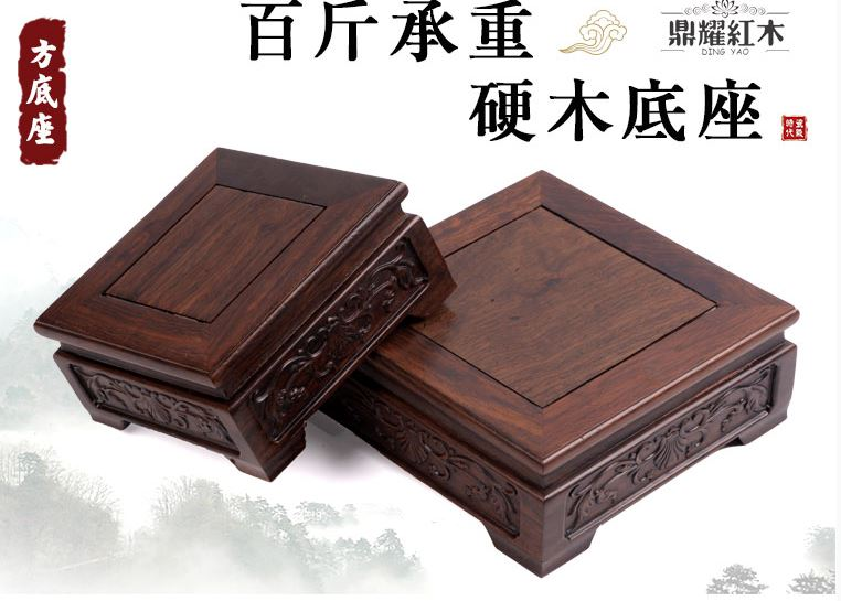 nature redwood base square display collection pedestal potted plant wood decoration