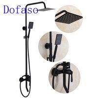 Dofaso antique brass faucet shower bronze bathroom brass black shower mixer taps wall mounted 20cm rainfall shower set