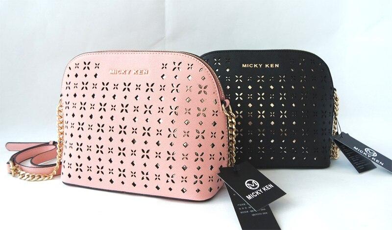 MICKY KEN Brand Crucifix PU Leather Michael Handbag Female Portable Shoulder Bag Shell Carved Hollow Bag 225