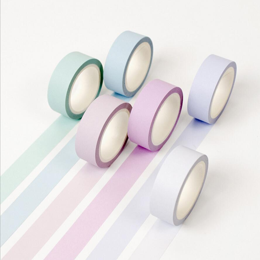 12 color Soft color paper washi tape 15mm*8m pure masking tapes Can torn Decorative stickers DIY Stationery school supplies 7054