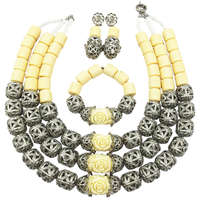 Fashion White Artificial Coral Necklace Nigerian Wedding African Beads Jewelry Set Bridal Party Jewelry Sets FSH 002