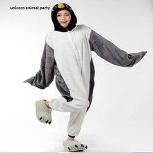 2017 Adult Unsex Men And Women Gray Penguin Onesie Sleepwear Winter Warm Hooded Pajama Set  Cosplay Pajamas