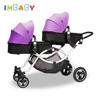 Luxury Twins Baby Stroller Foldable Twin Stroller High Landscape lightweight Easy To Fold for Twins For Newborns Baby Carriage