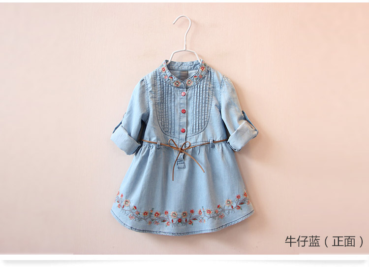2018 Spring Autumn 3-12 Age Kids Embroidery Flower Long And Short Sleeve Double Use Denim Blue Elegant Dress For Girl With Belt (3)