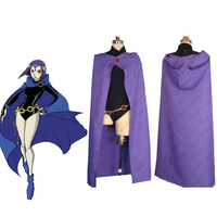 Anime Manga Hero Teen Titans Raven Cosplay Accessary Whole Set Costume