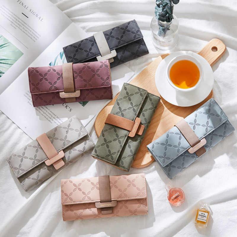 2019 роскошный женский кошелек женский кожаный кошелек с длинной застежкой Цветок Дамский брендовый дизайнерский бумажник Женский кошелек для телефона клатч сумка для девочки