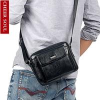 CHEER SOUL Genuine Leather Men Messenger Bag Tablets Men's Shoulder Bag Handbag Small Crossbody Bags Male Briefcase Leather Bags