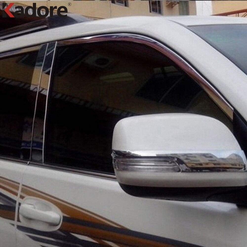 สำหรับโตโยต้า Prado FJ150 2014 2015 2016 ABS Chrome ด้านข้างกระจกมองหลังกระจกฝาครอบ Strip รถอุปกรณ์เสริม