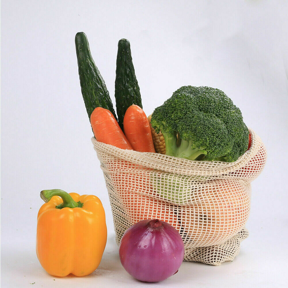 Daily Drawstring Bag Cotton Groceries Reusable White Tote Bag Vegetable Fruit Gift Bag