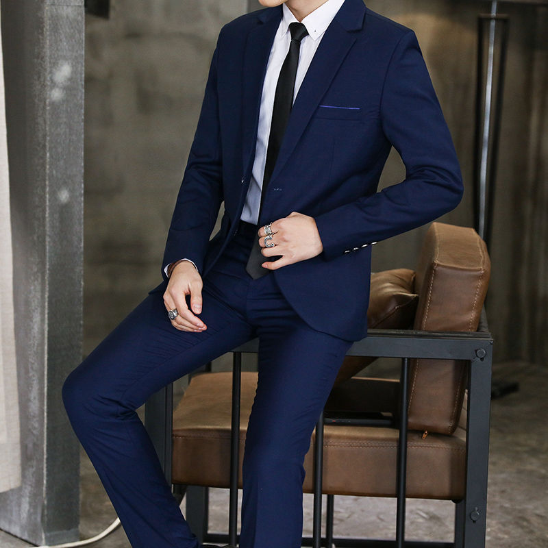 4 color Male Blazers and Suit Trousers Pure Color Men Sets