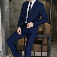 4 color Male Blazers and Suit Trousers Pure Color Men Sets