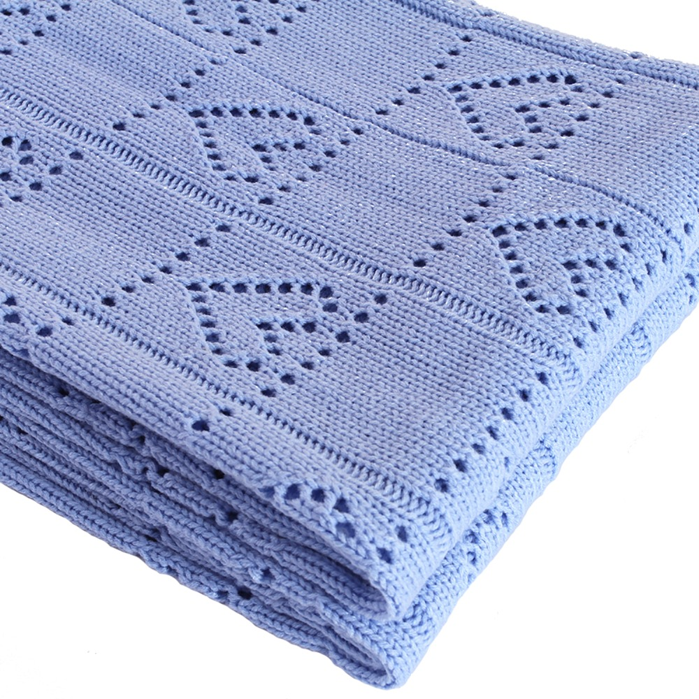 Sinogem Square 130x170cm Sky Blue Cable Knitted Blanket 100% Acrylic ...