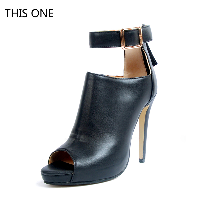 купить THIS ONE Hot Selling Black Leather Ankle Boots Sexy Peep Toe Ankle Strap Woman Boot 2018 Cutouts High Heel Boots Gladiator Boots по цене 5983.78 рублей