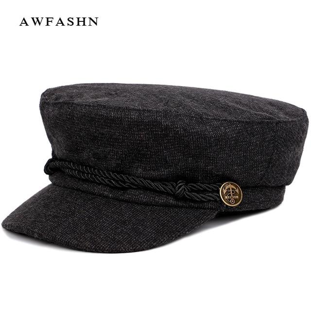 2018 nueva moda Color sólido gorra militar rayas Newsboy sombrero hombre  mujer Otoño Invierno sombrero plano 5dae10aa40b