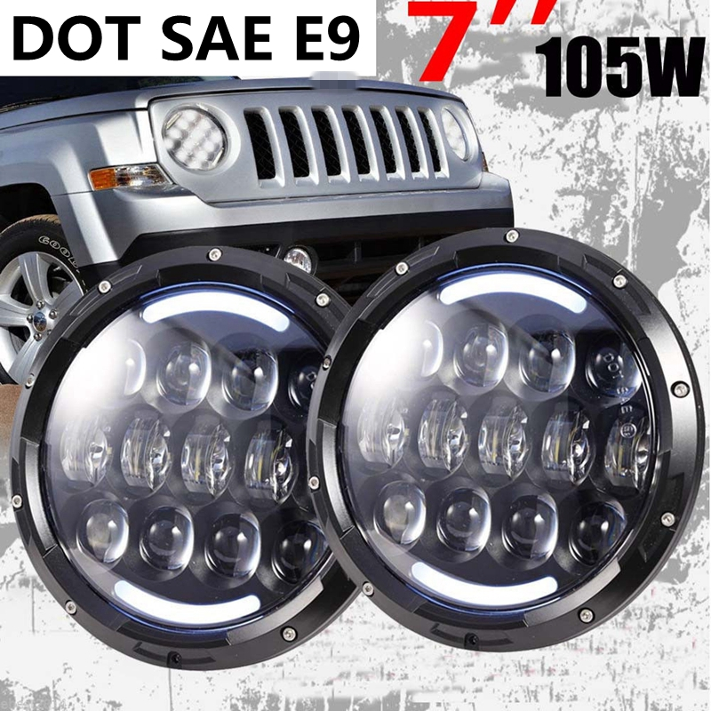 7 Inch Round LED Headlights Sealed Beam Assembly For Jeep Wrangler JK LJ TJ CJ DJ H4 105W Cold White HALO Turn Signal & DRL vosicky 7 inch led headlights for jeep wrangler daymaker with hi lo beam amber drl for tj lj jk cj 5 cj 7 cj 8 scrambler
