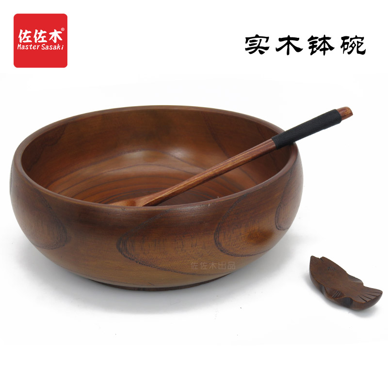 Купить с кэшбэком Free shipping Retro Style chinese/japanese style Rice/Noodles/Sushi/Food/Sugar/Soup/Fruits wood bowl Give a spoon 15.5*7.5cm