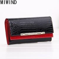 MIWIND cowhide wallets crocodile women wallet Genuine Leather designers brand lady fashion clutch casual female purses T1133